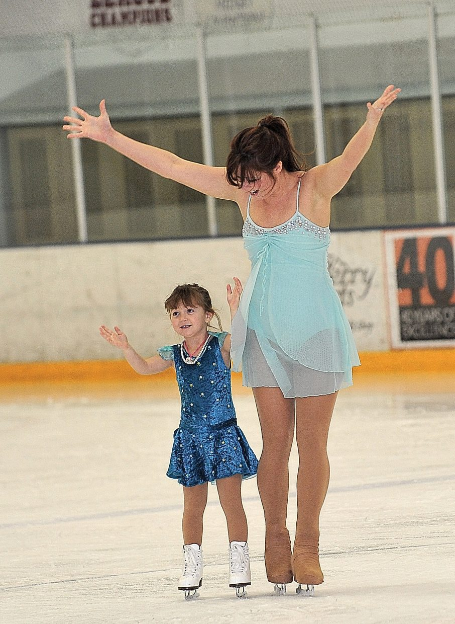 """Ani Cesario Bisnette and her daughter Tatum rehearse """"Bound to You"""" while preparing for the Steamboat Springs Figure Skating Club's annual """"Broadway on Ice"""" show. The show will take place at 7 p.m. Friday and Saturday at Howelsen Ice Arena"""