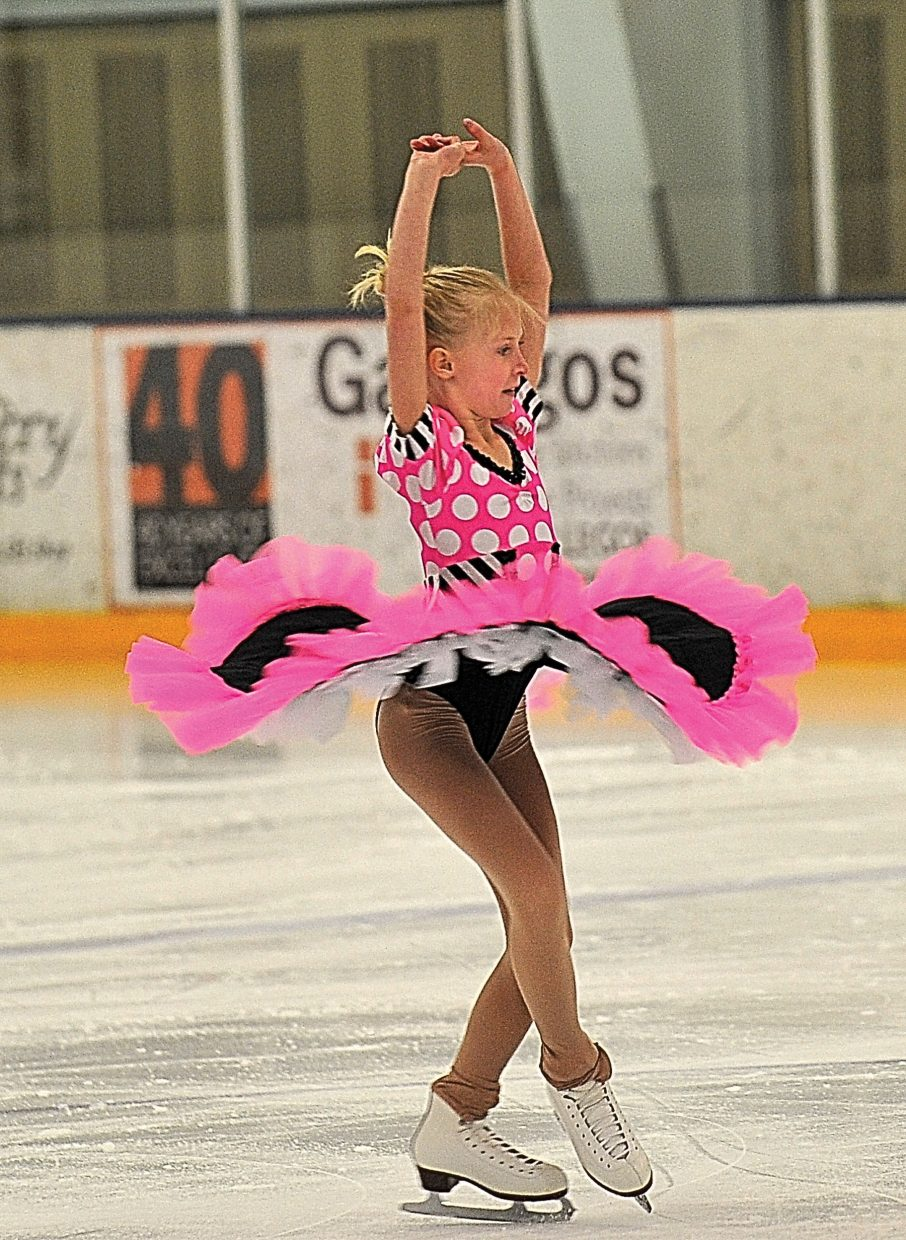 """Jordan Broyhill rehearses """"Because You Can Can"""" while preparing for the Steamboat Springs Figure Skating Club's annual """"Broadway on Ice"""" show. The show will take place at 7 p.m. Friday and Saturday at Howelsen Ice Arena"""