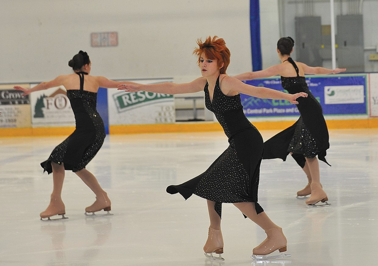 """Cassie Whilhelm rehearses with team Volant while preparing for the Steamboat Springs Figure Skating Club's annual """"Broadway on Ice"""" show. The show will take place at 7 p.m. Friday and Saturday at Howelsen Ice Arena"""