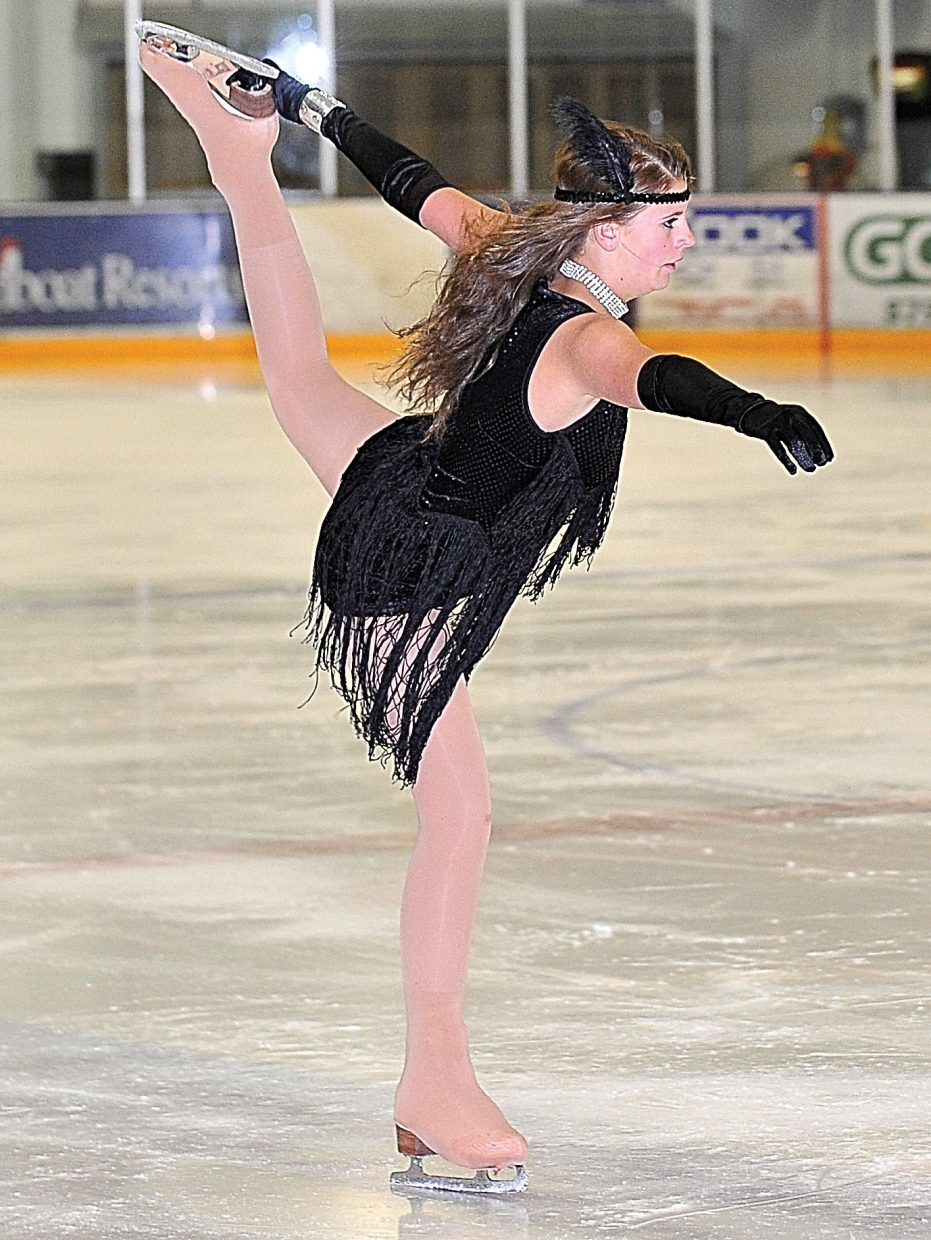 """Clare Franklin rehearses """"Cell Block Tango"""" while preparing for the Steamboat Springs Figure Skating Club's annual """"Broadway on Ice"""" show. The show will take place at 7 p.m. Friday and Saturday at Howelsen Ice Arena"""