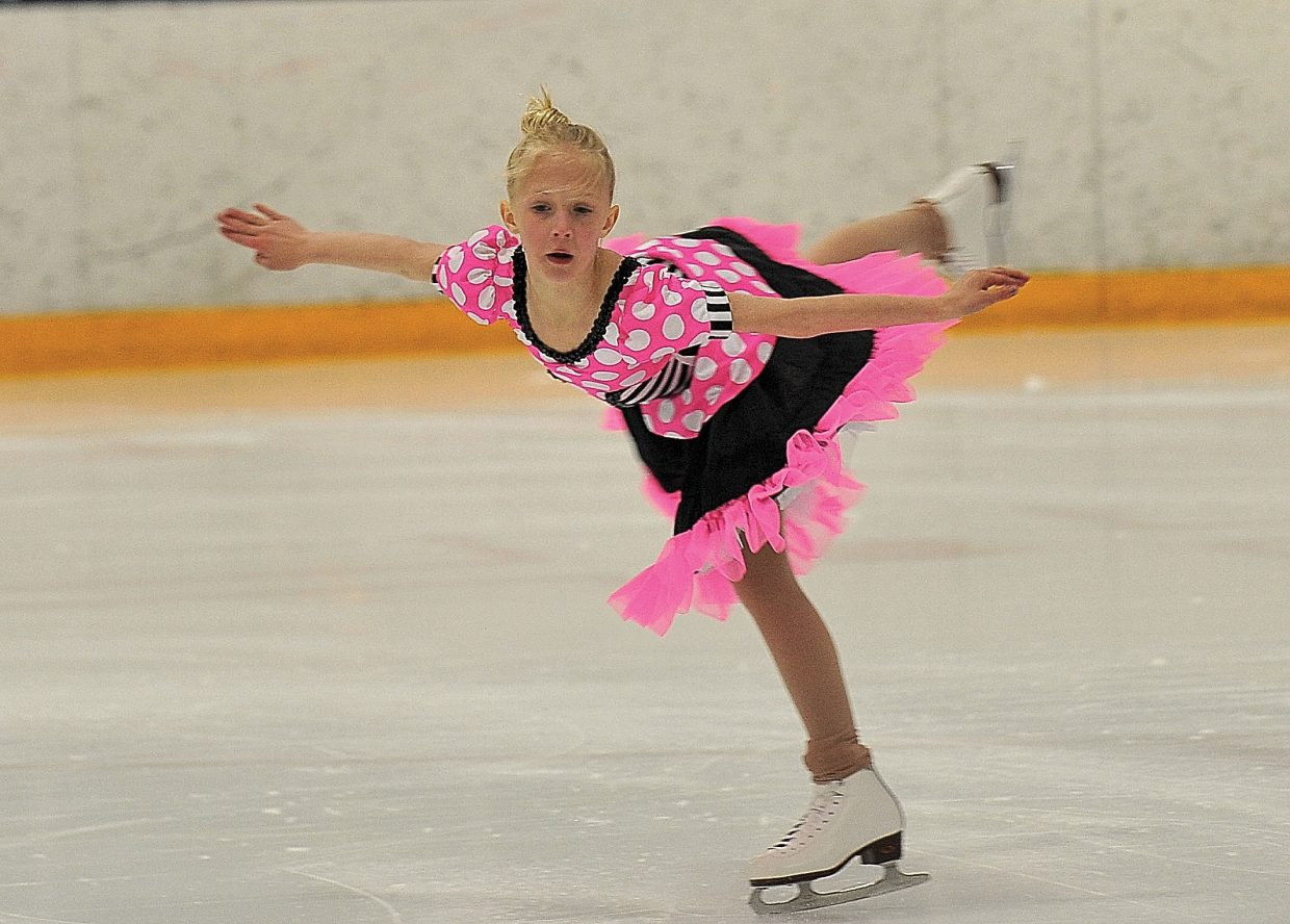 """Jordan Broyhill rehearses """"Because You Can Can"""" while preparing for the Steamboat Springs Figure Skating Club's annual """"Broadway on Ice"""" show. The show will take place at 7 p.m. Friday and Saturday at Howelsen Ice Arena."""