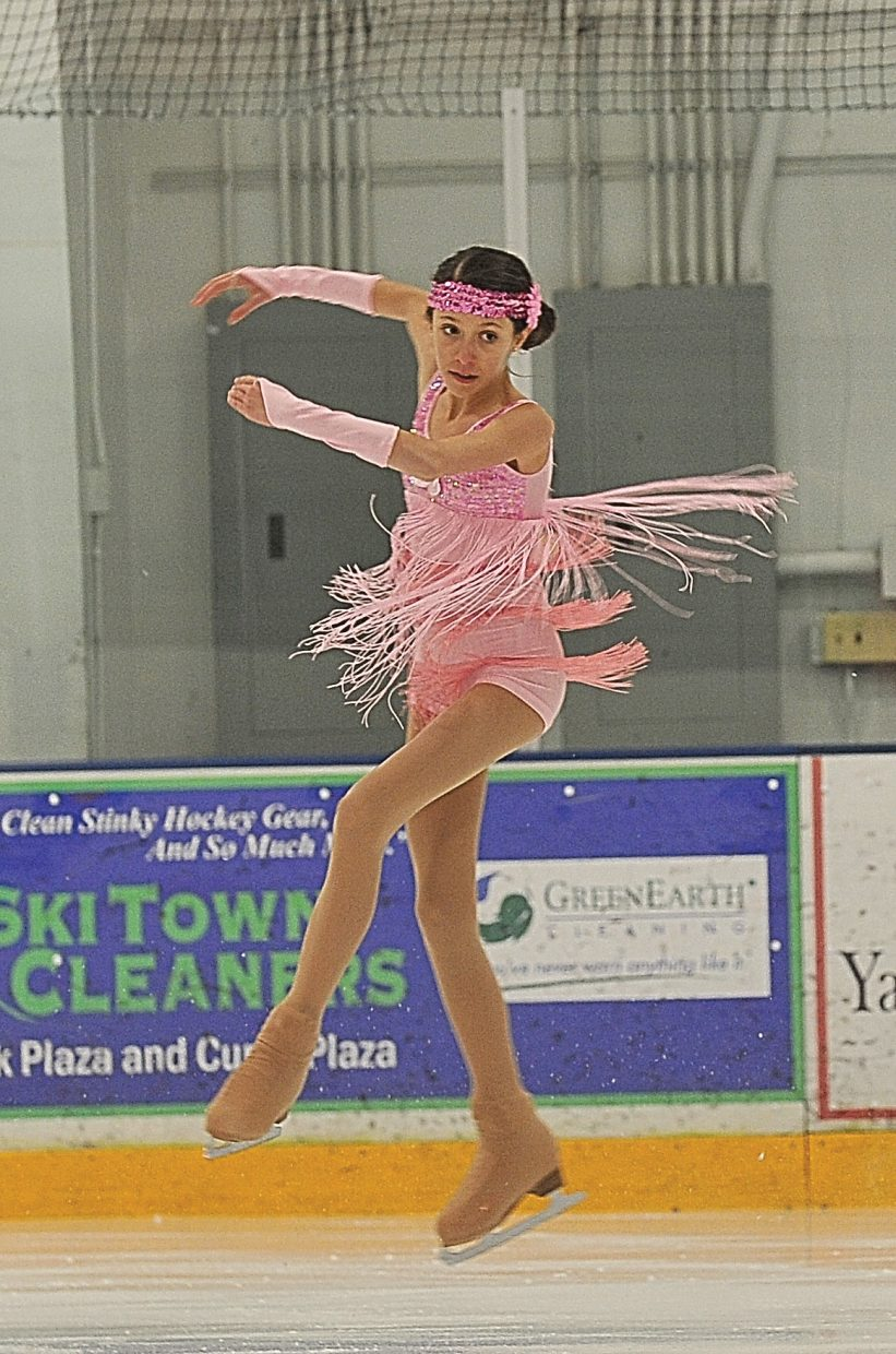 """Gillian Cook rehearses """"Roxie"""" while preparing for the Steamboat Springs Figure Skating Club's annual """"Broadway on Ice"""" show."""