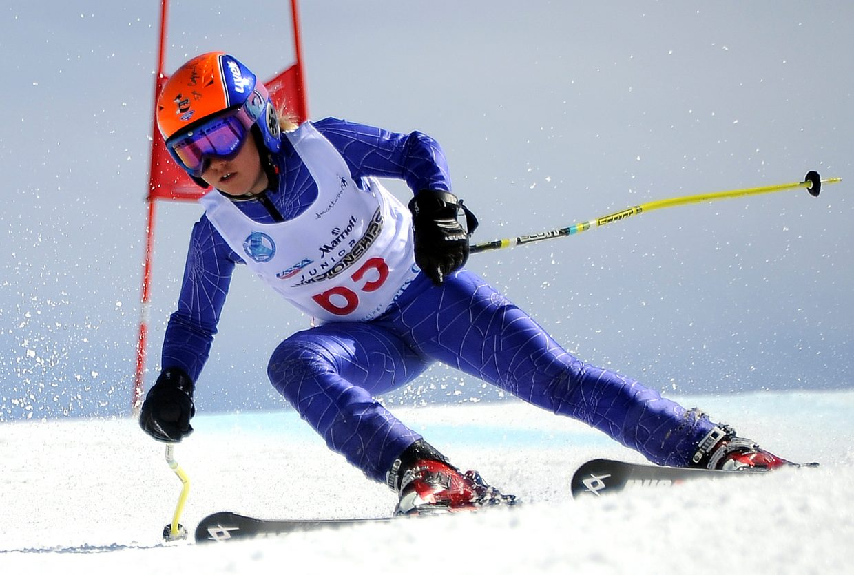 Steamboat Springs' Delaney Pratt flies down See Me on Thursday during the super-G at the J4 Junior Nationals Alpine skiing event in Steamboat Springs. More than 140 skiers took to the slopes. They'll return Friday for a giant slalom event.