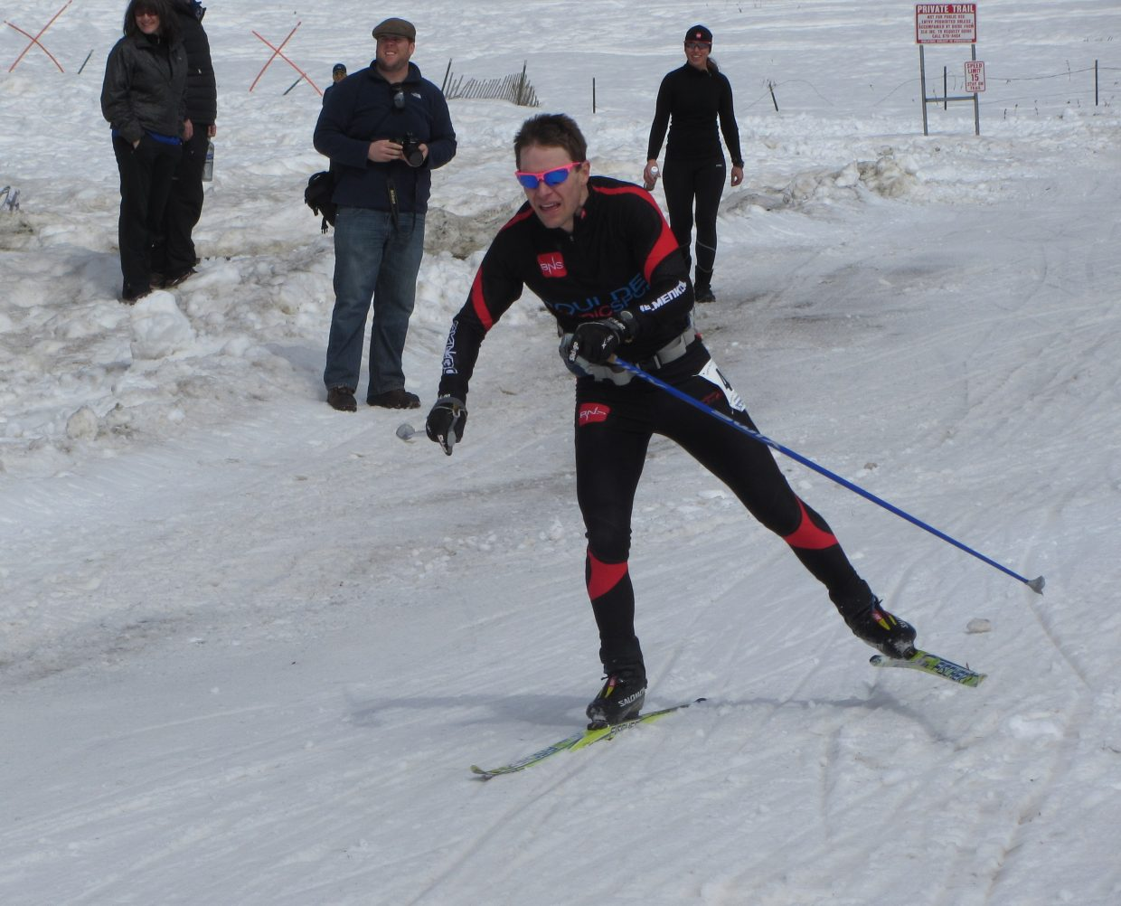 Dan Weinberger, who has won the Coureur des Bois event twice before, skis to a third-place finish Saturday.