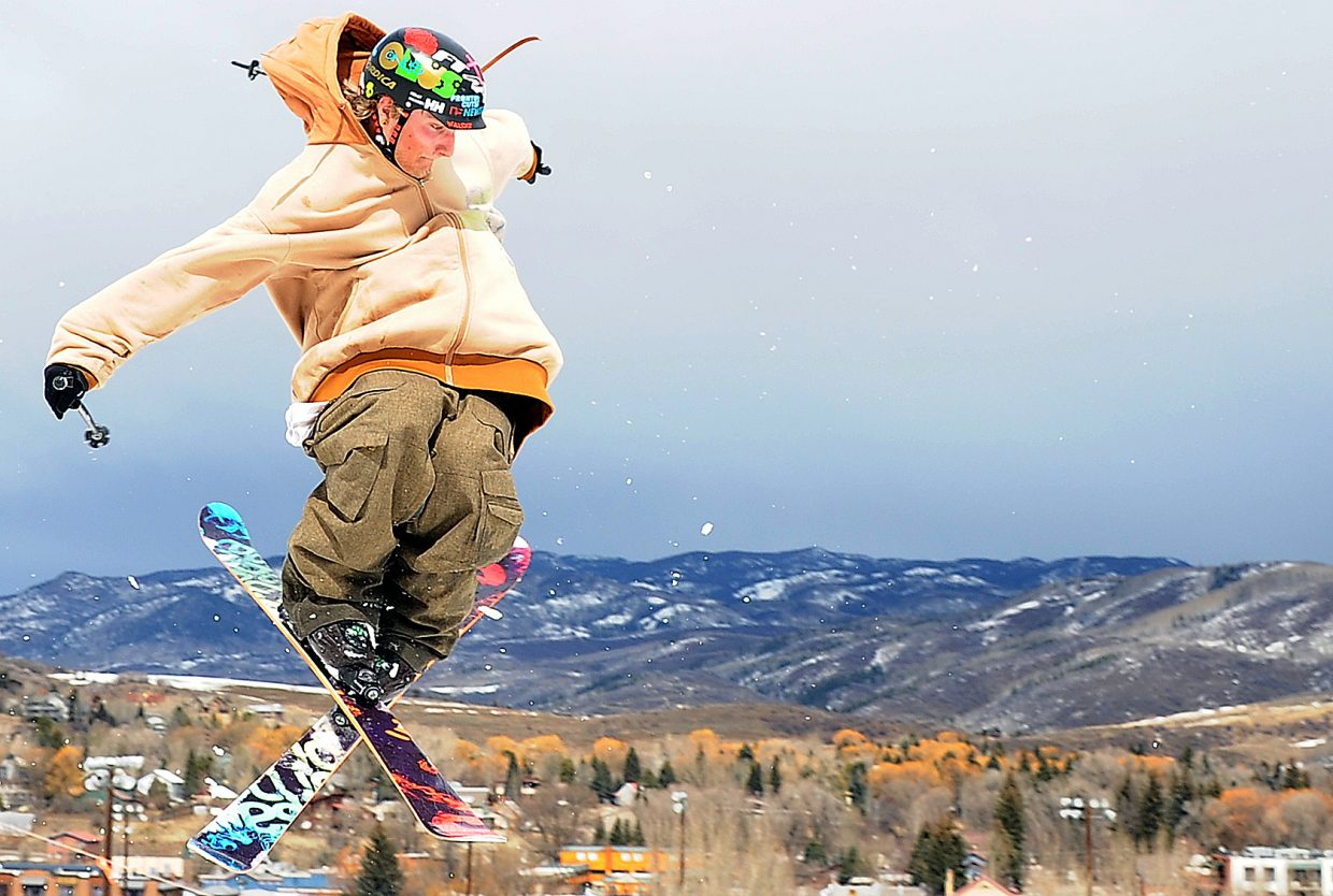 Eric Samuelson skis Sunday in a Snowboarders and Skiers for Christ Big Air and trick event at Howelsen Hill.