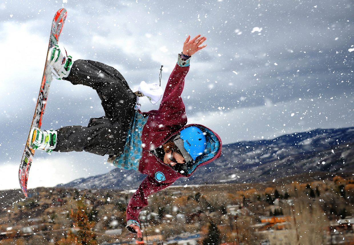 Ozzie Kreckow pulls off a flip during a big air competition Sunday at Howelsen Hill in Steamboat Springs.