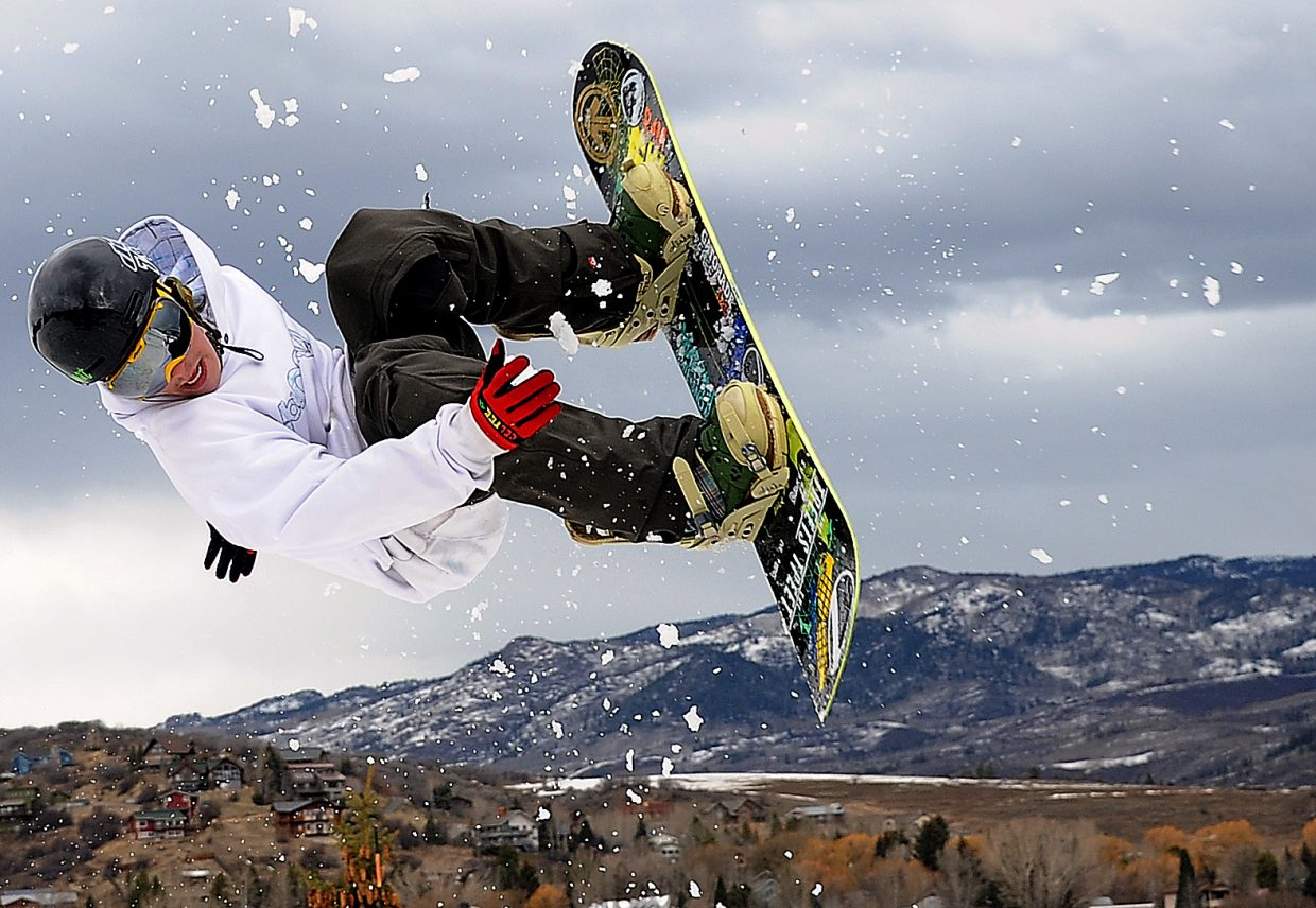 Ivan Stewart flips on Sunday during a Big Air competition at Howelsen Hill.