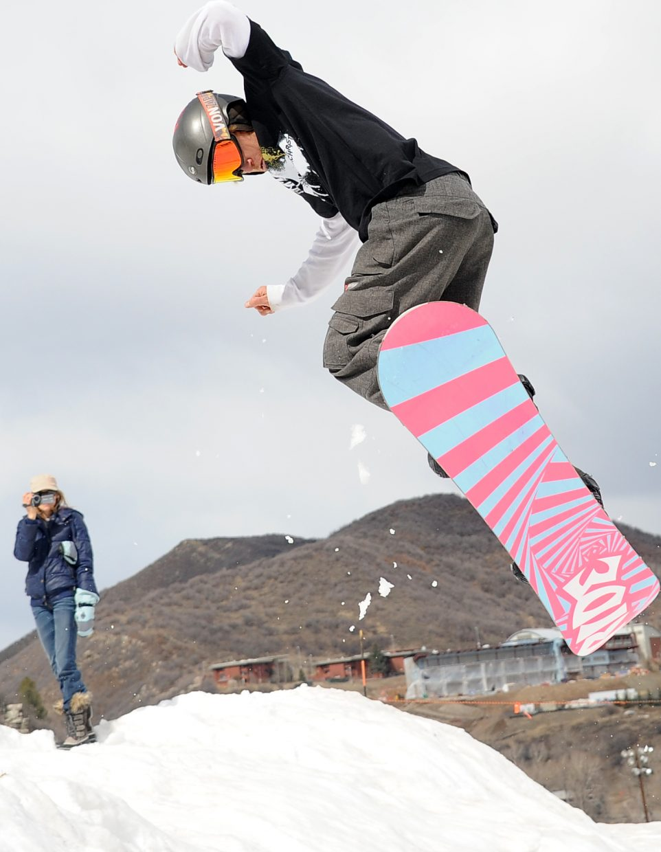Danny Tebbenkamp gets air during a competition at Howelsen Hill on Sunday.