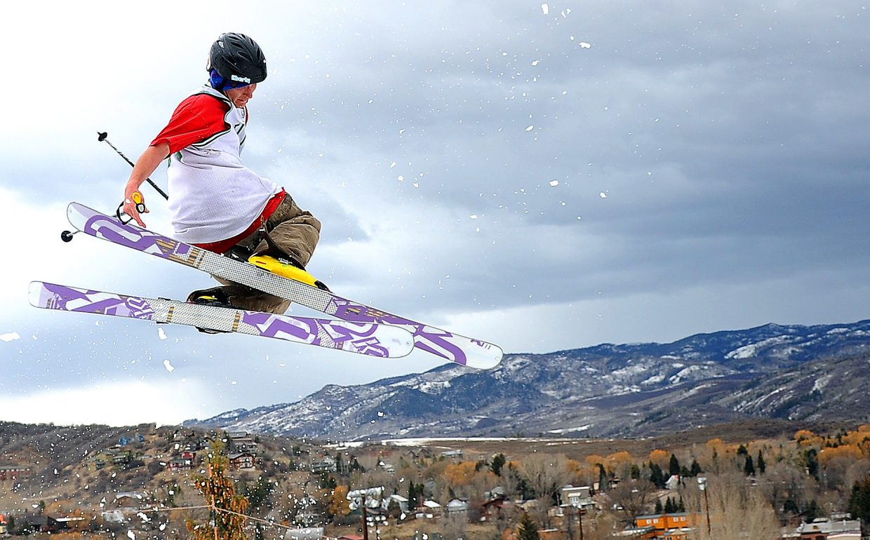 Sam Fletcher flies off a jump during a competition Sunday at Howelsen Hill.