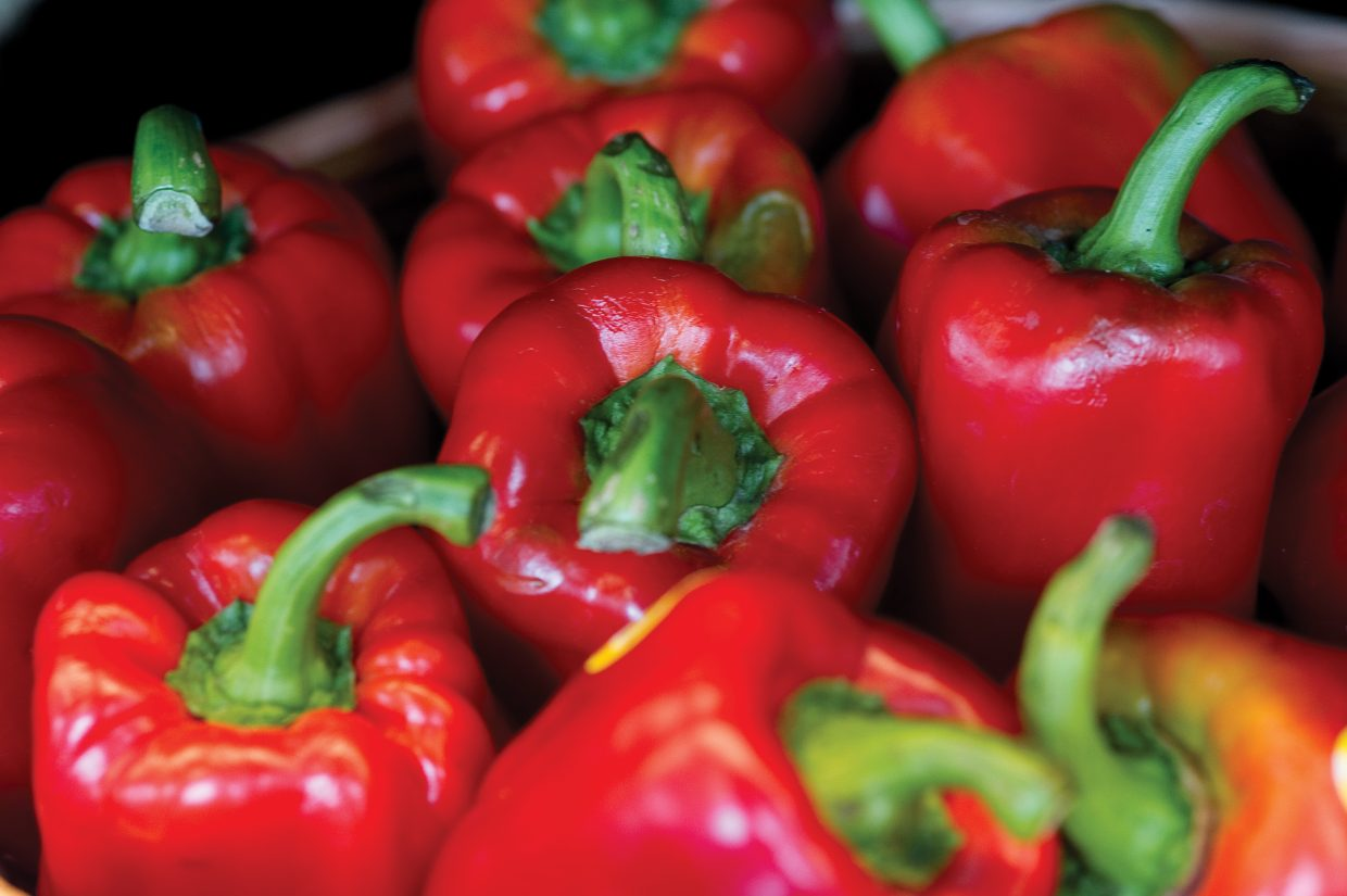 Red peppers are among the natural items offered at Bamboo Market.