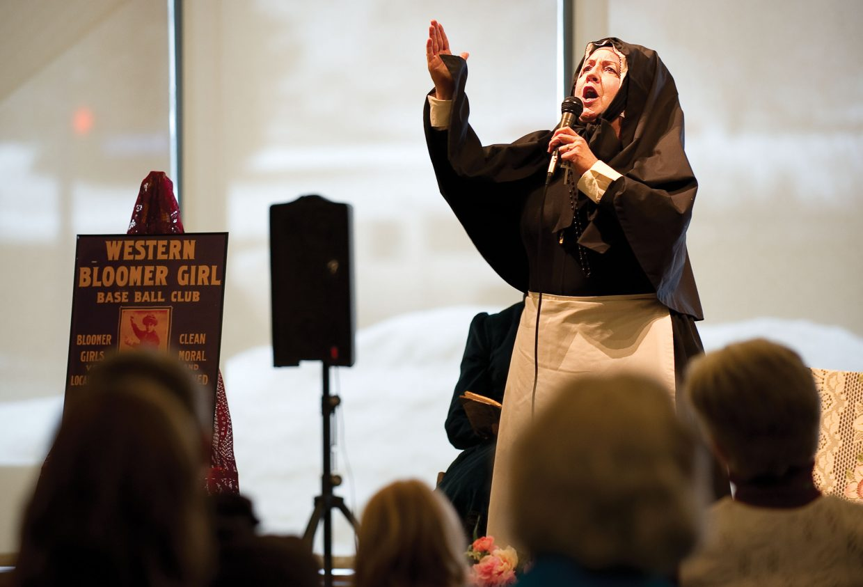 "Julie Villalovos of the Legendary Ladies portrays Mother Cabrini, the first sainted American, Tuesday night during the ""Unconventional Women of the West"" presentation at Bud Werner Memorial Library. Founded in 1992, the Legendary Ladies is an educational, non-profit performance group that travels around the state bringing history, and women's roles in history, to life."