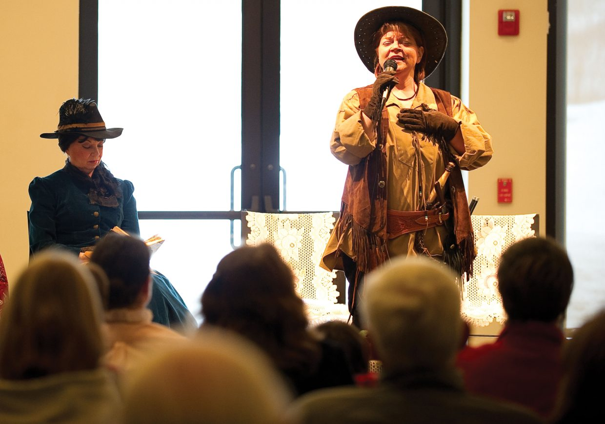 "Jean Rosecrans of the Legendary Ladies portrays Wild West legend Calamity Jane Tuesday night during the ""Unconventional Women of the West"" presentation at Bud Werner Library Hall. Founded in 1992, the Legendary Ladies is an educational, non-profit performance group that travels around the state bringing history and women's roles in history to life."