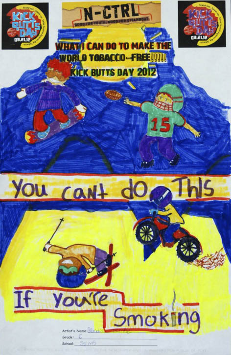 Kick Butts Day poster contest winner submitted by Brandon Temple at Steamboat Springs Middle School.