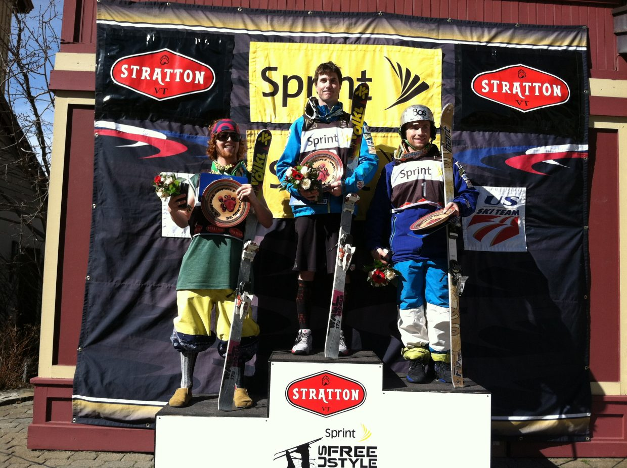 Steamboat Springs skiers Reed Snyderman, left, Jeremy Cota and Patrick Deneen stand on the podium at the Sprint U.S. Freesstyle National Championships. Cota won his second national championship, finishing just ahead of Deneen.
