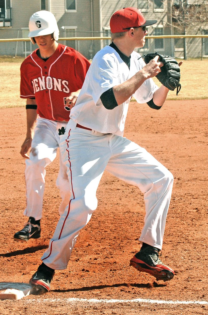Steamboat's third baseman Thomas Kelly looks to make a double play during Saturday's double header in Glenwood Springs.