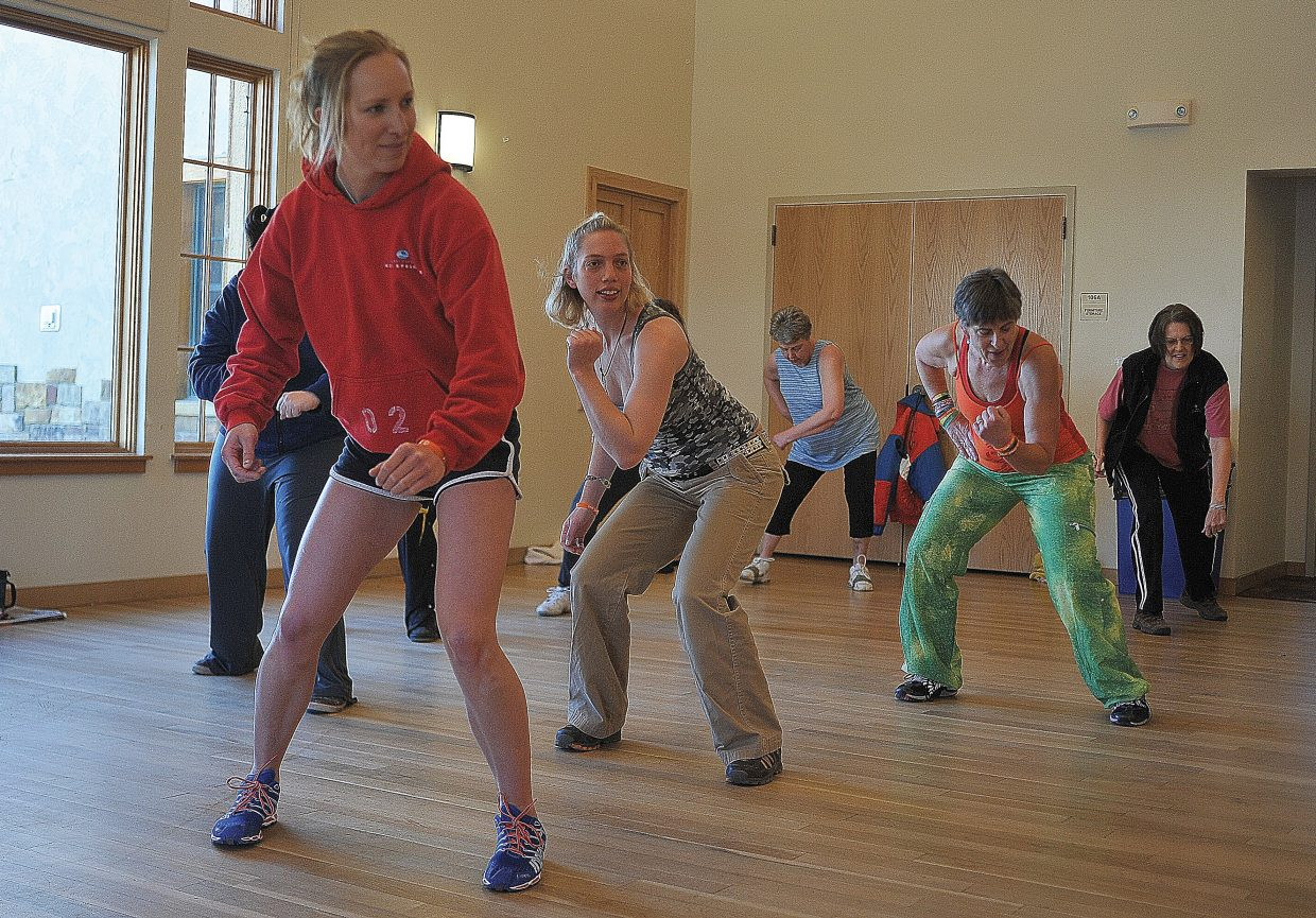 Rhi Gifford, second from left, participates in a Zumba class at the Steamboat Springs Community Center on Friday morning. Horizons clients are regulars in many community activities helping clients blend in and become an important part of the community where they live.