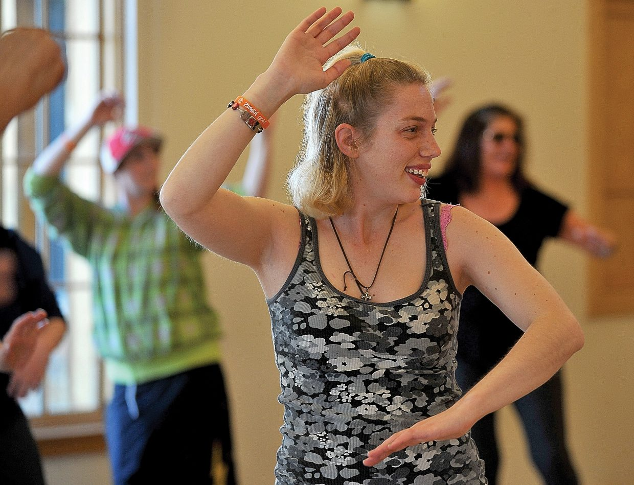 Krysdal Weiland takes part in a Zumba class at the Steamboat Springs Community Center on Friday morning. Horizons clients are regulars in many community activities helping clients blend in and become an important part of the community where they live.