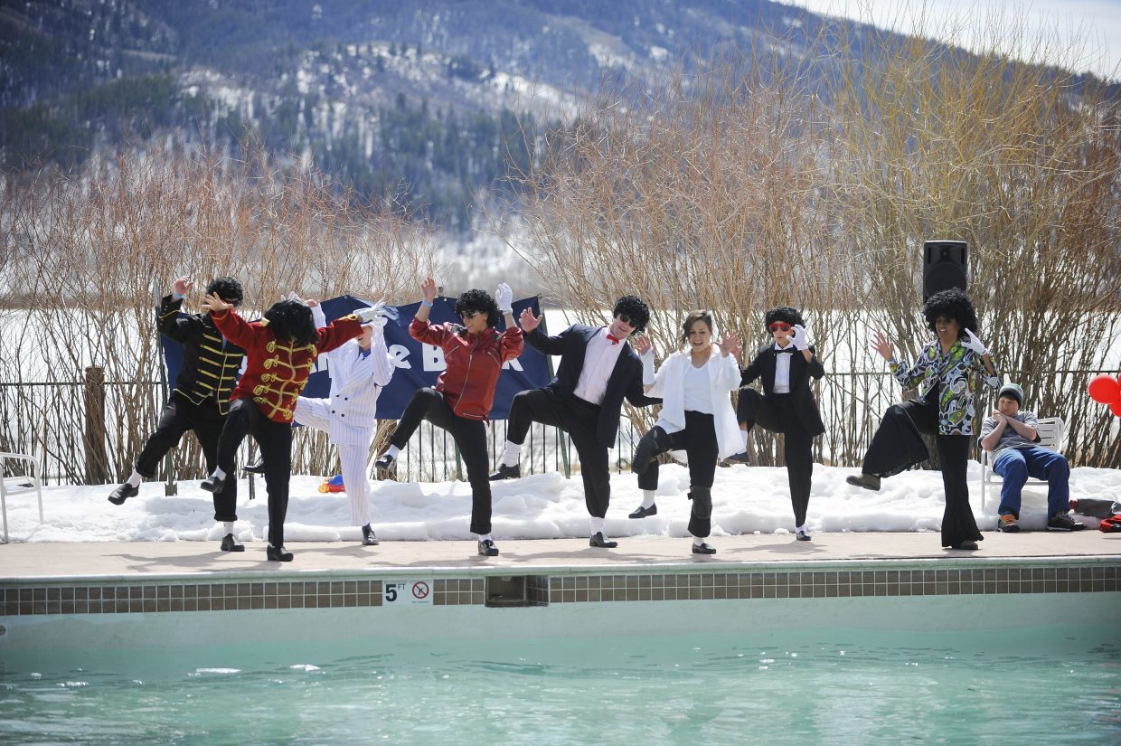 Yampa Valley Medical Center team members perform during the ninth annual Penguin Plunge on Saturday at Catamount Ranch & Club.