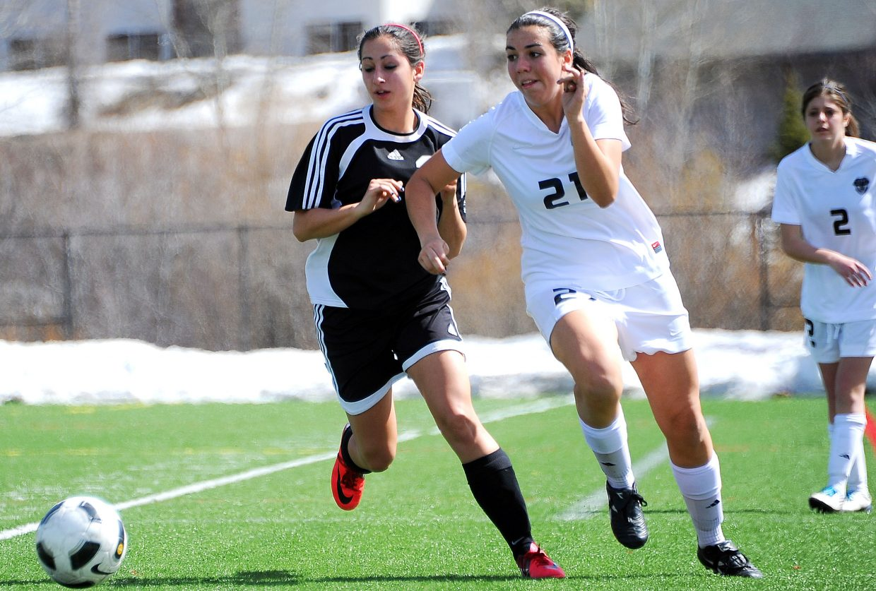 Steamboat Springs' Kate Verploeg flies toward the ball Saturday during a 6-0 victory against Eagle Valley. The Sailors smashed home five goals in the first half to set up the big win.