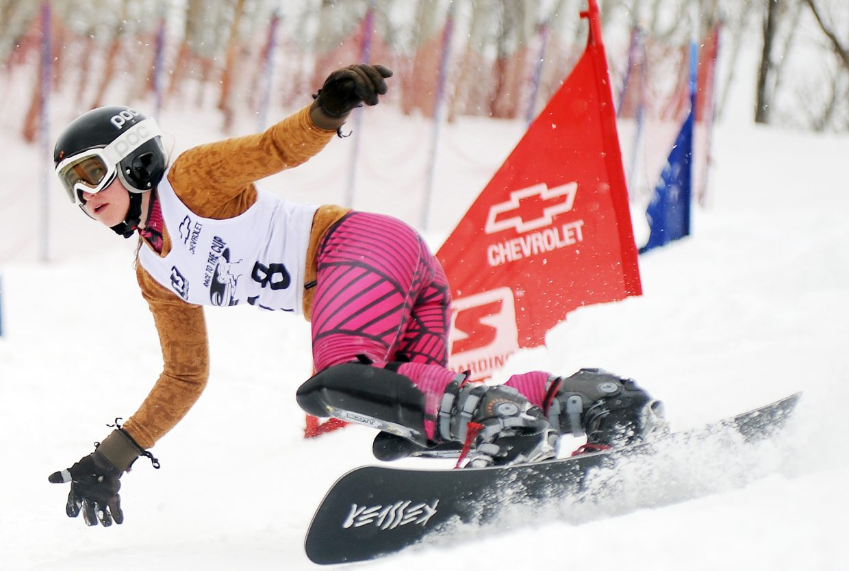 Steamboat Springs Alpine snowboarder Cassandra Wagar competes Saturday in a NorAm parallel slalom event at Steamboat Ski Area. She finished fourth, her best NorAm finish of the season.
