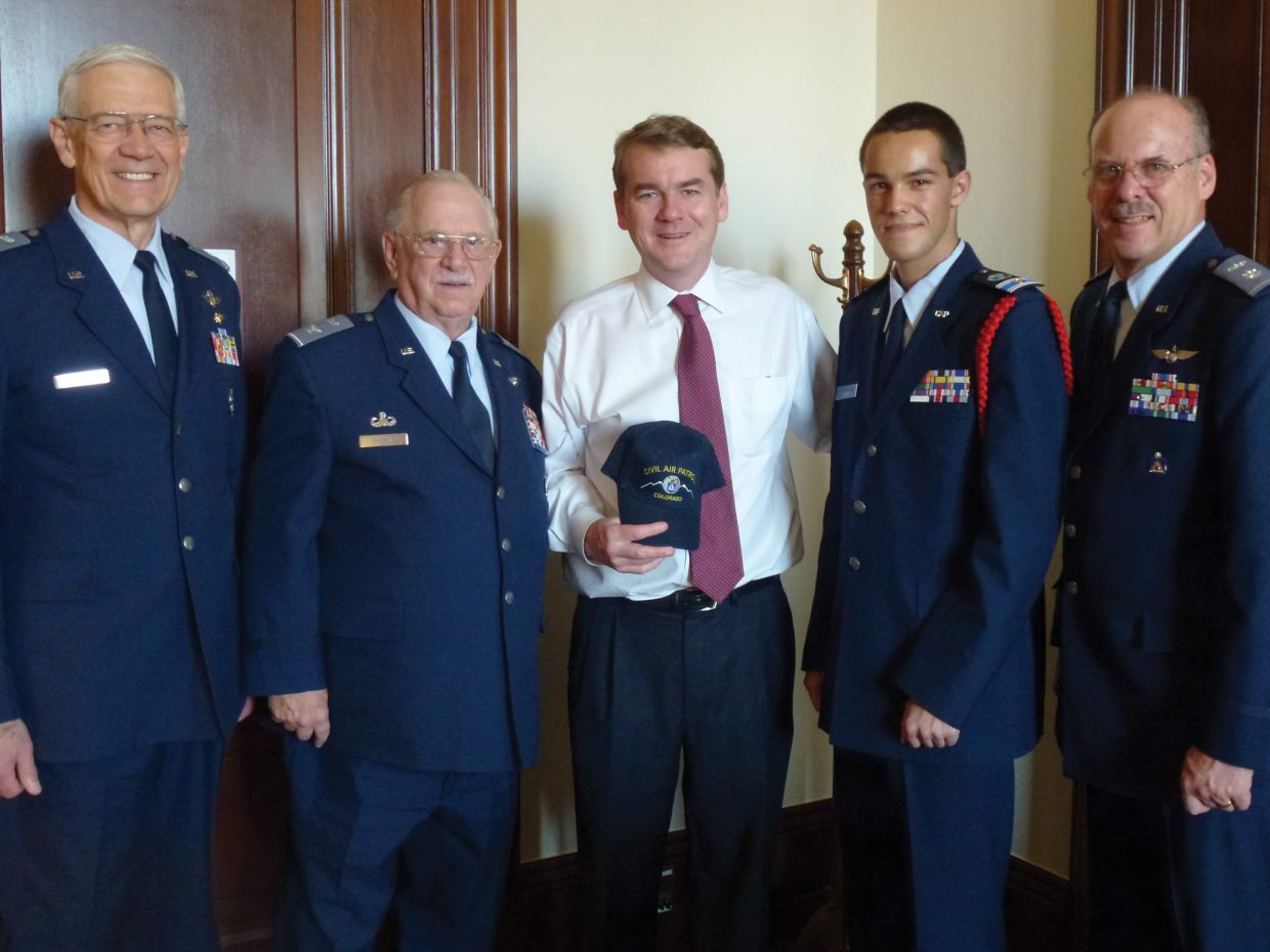 """Cadet 2nd Lt. Noah Gibbs, of the Steamboat Springs Composite Squadron of the Civil Air Patrol, participated in the Civic Leadership Academy in Washington, D.C., from Feb. 25 to March 3. Pictured from left are Col. Gary Tobey, Col. Earl Sherwin, Sen. Michael Bennet, Gibbs and Lt. Col. David Novotny. The Civil Air Patrol selected top cadets from across the nation to participate in the interactive study of the democratic process, and Gibbs was the only cadet from Colorado. """"Civic Leadership Academy probably was one of the most exciting experiences in my life so far,"""" Gibbs said. """"Each and every day was something new and interesting. The most rewarding part of the academy was getting to talk to so many important people."""""""