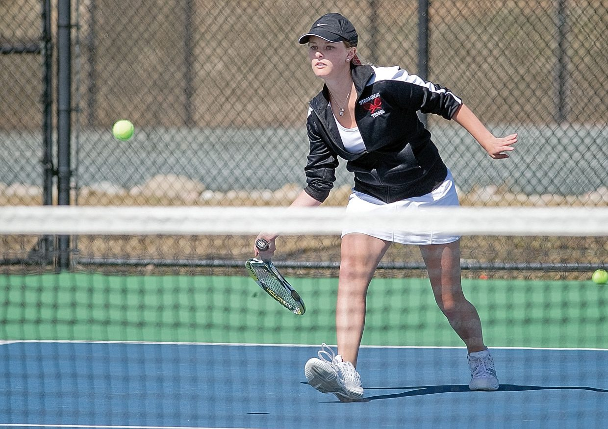 Steamboat Springs' Brooke Metzler returns a shot during a match against Vail Mountain School on Tuesday afternoon at the Tennis Center at Steamboat Springs. Spencer and partner Summer Smalley won the match, 6-2, 6-2, and helped the Sailors roll to a 7-0 win against the visiting Gore Rangers.