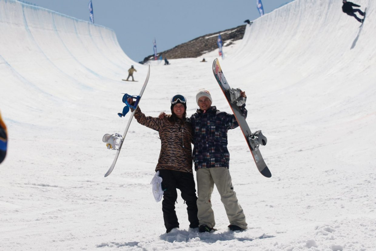 Steamboat Springs Winter Sports Club snowboarder Arielle Gold, left, won the FIS Junior World Championship half-pipe event Tuesday in Sierra Nevada, Spain.