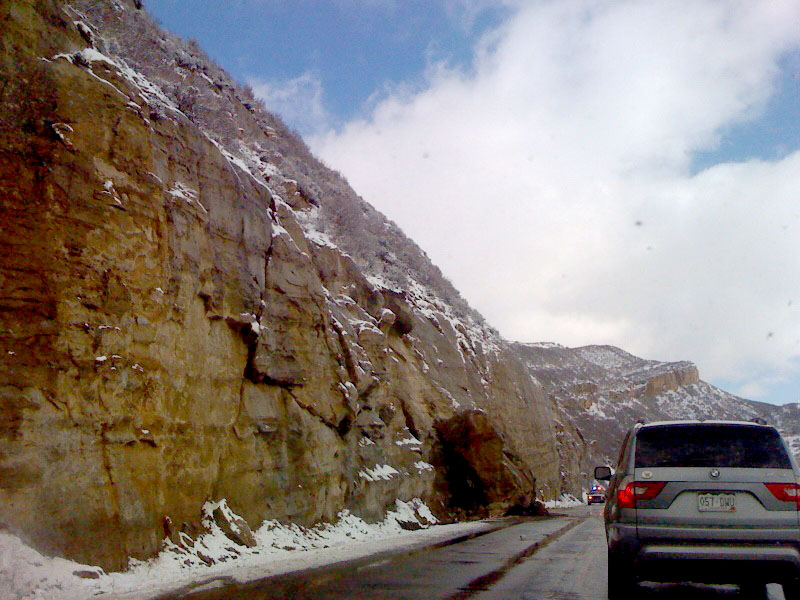 Cars were limited to one lane after a rockslide on U.S. Highway 40 on Monday morning.