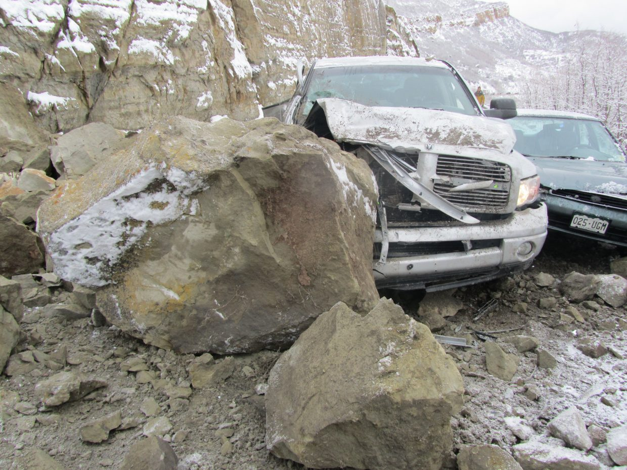 West Routt Fire Protection District Chief Bryan Rickman sent in this photo of damage from this morning's rockslide on U.S. Highway 40 near Mount Harris. One man was taken to the hospital with moderate injuries.