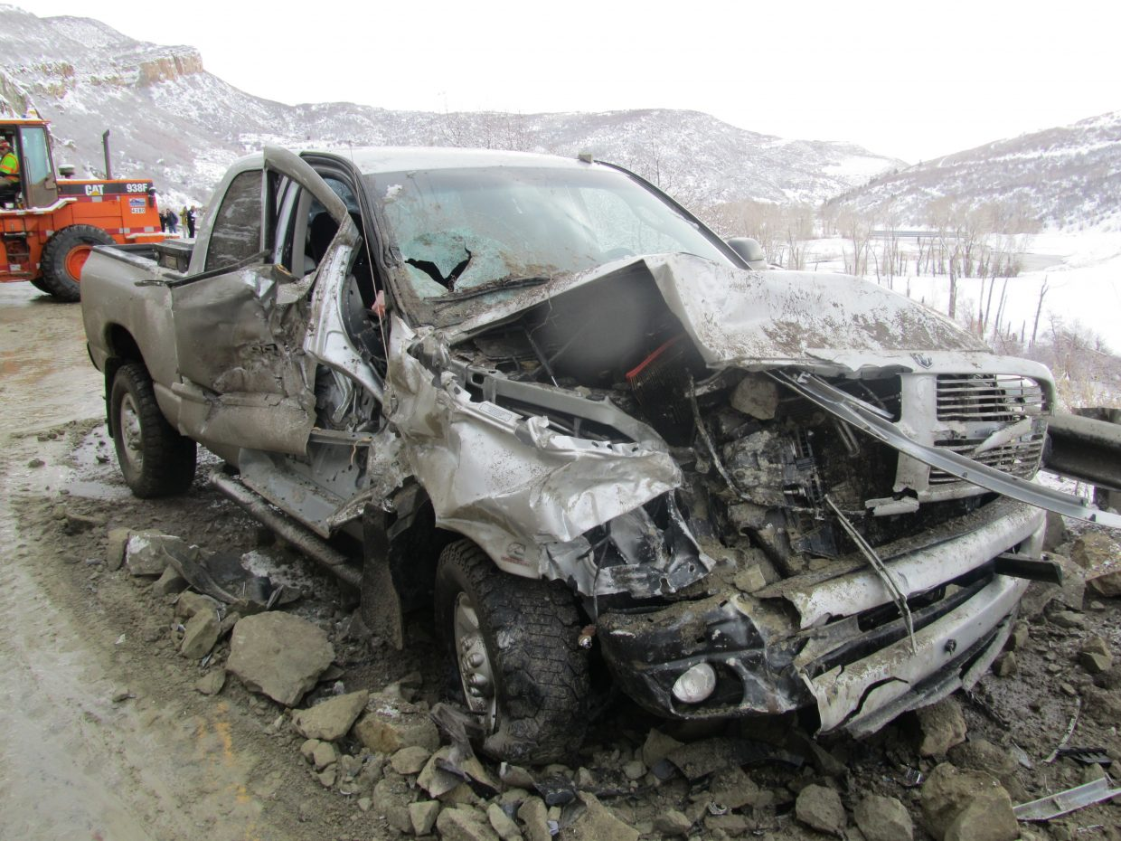 West Routt Fire Protection District Chief Bryan Rickman sent in this photo of damage to a truck after a rockslide on Monday on U.S. Highway 40. One man was taken to the hospital with moderate injuries.
