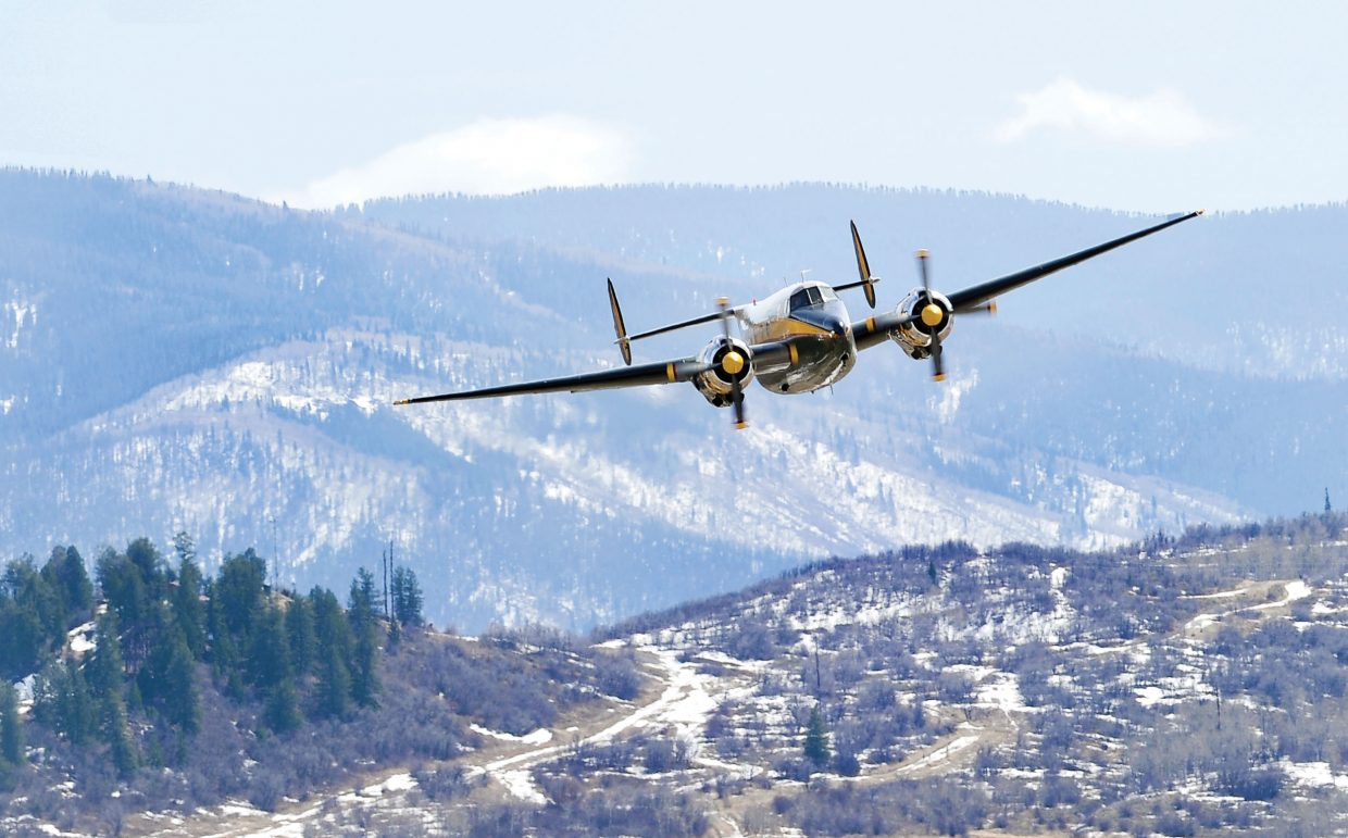 A Howard 500 soars past the Steamboat Springs Airport on Wednesday on its way back home to Minnesota. The owner flew the plane, which is the only one in the United States and one of two in the world, into Yampa Valley Regional Airport earlier this week. Howard Aero Inc. built 17 of the airplanes in the 1950 and 1960s. The aircraft could accommodate 10 to 14 passengers and was used as an executive aircraft by corporations and private owners who could afford to buy and operate them.