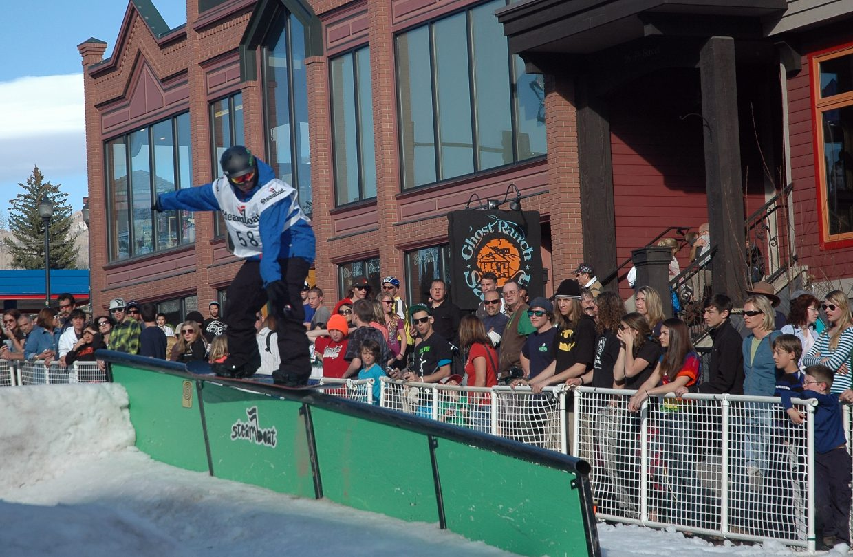 Rider Sonny Schroer competes Friday in Urbane's Midtown Crisis Rail Jam.