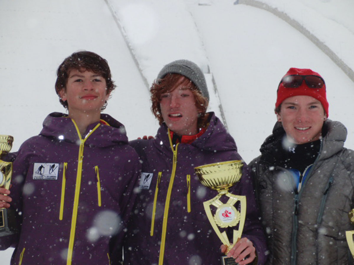 Steamboat Springs' Ncholas Madden, right, placed third in the junior division at the Canadian National 10-kilometer Nordic combined event Saturday afternoon in Whistler, British Columbia. Matthew Soukup, center, took second, and Rogan Reid, left, won the J2 event.