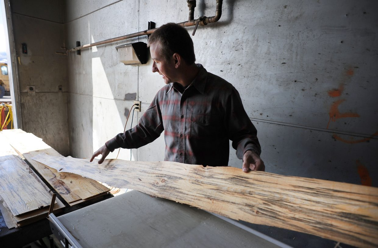 Trent Jones, of Mountain Pine Manufacturing, holds a piece of veneer in April made from beetle-killed pine from Routt National Forest. Medicine Bow/Routt National Forest is seeing more interest in its timber sales as the market improves.