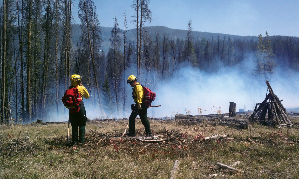 About 33 firefighters from Oak Creek, Steamboat Springs and Yampa fire crews responded to the scene of a wildfire near Stagecoach on Friday. The fire has been contained.