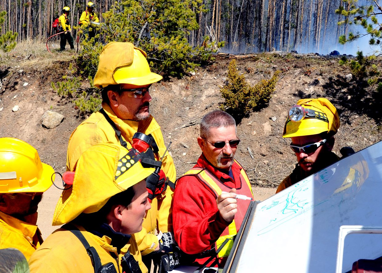 Oak Creek Fire Chief Chuck Wisecup explains a plan to area firefighters on Friday as other crews work to stamp out fire nearby. A downed power line sparked the blaze, which burned 1.3 acres in south Routt County.