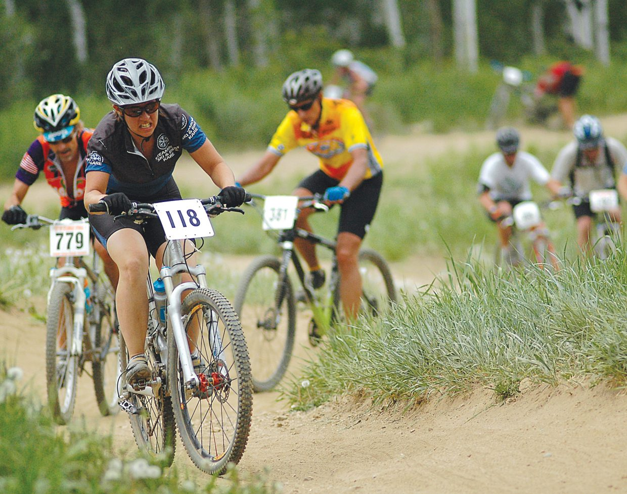 Jody Gale leads a long train of riders up Mount Werner as a part of the Thundehead Hill Climb Town Challenge mountain bike race in 2008.