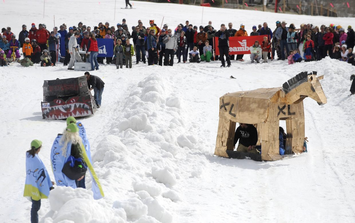 Crafts race during Saturday's Cardboard Classic at Steamboat Ski Area.