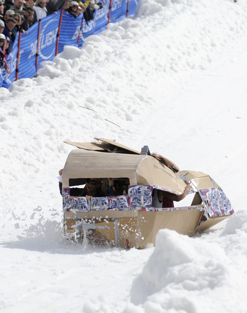 A mobile-home-themed craft races during Saturday's Cardboard Classic at Steamboat Ski Area.