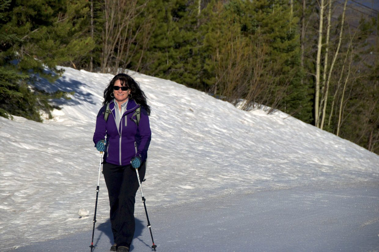 Steamboat Springs Olympian Tarsha Ebbern trains at Steamboat Ski Area for Climb Against the Odds, a 28-person expedition in June that will raise money for breast cancer prevention.