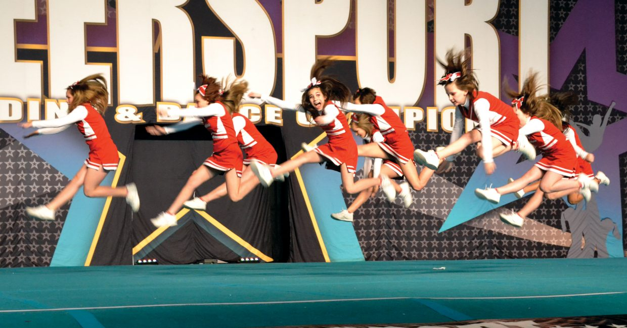 Steamboat Springs Middle School cheerleaders compete March 10 at the CheerSport-Denver Grand Championship. The team, competing in its first regional competition, finished first in its division.
