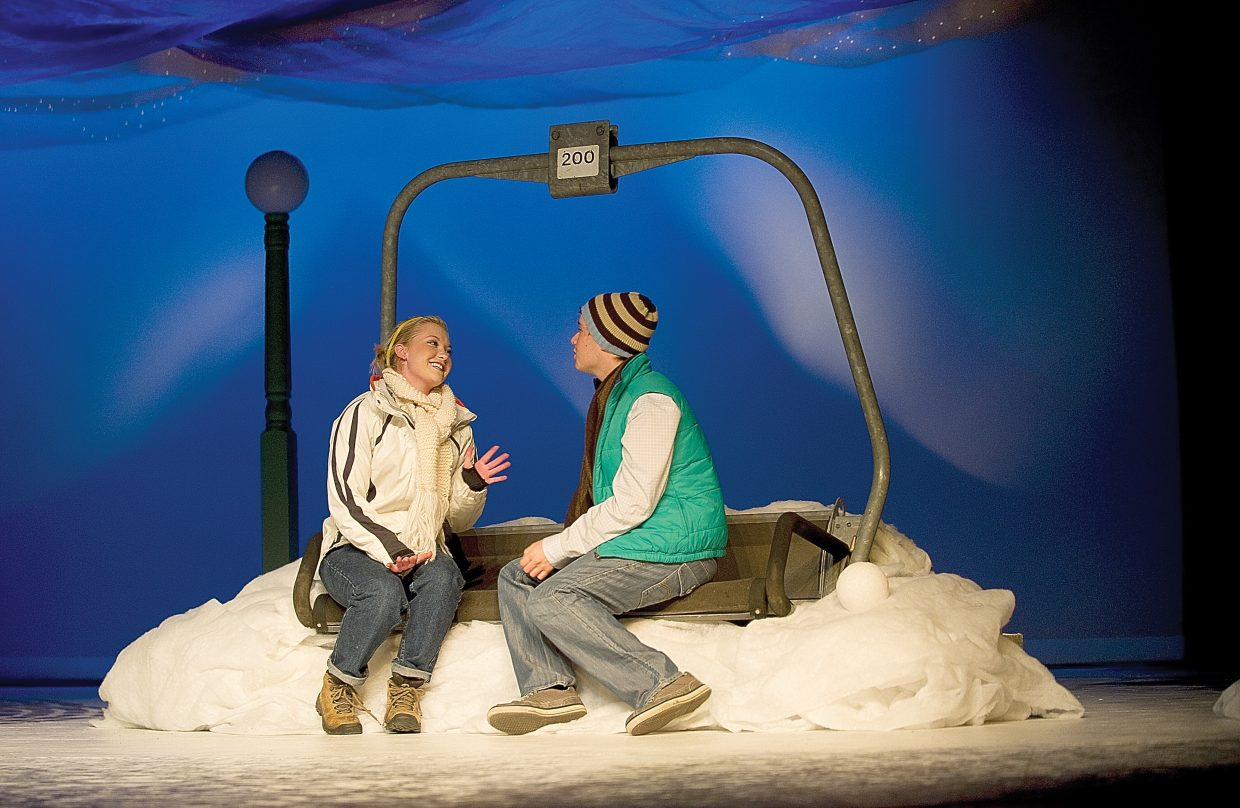 """Sophie Myller, left, plays the part of Ginette and Blake Kelly plays Pete while rehearsing a scene from """"Almost, Maine"""" on Wednesday afternoon in the Steamboat Springs High School auditorium."""