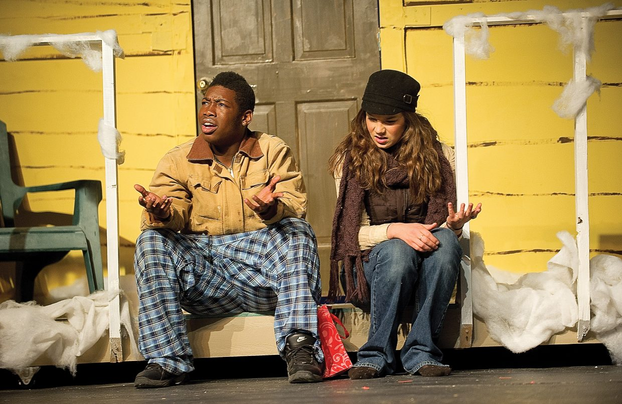 """Marshal Bobby Henry, left, plays the part of East and Andie Baker plays Glory while rehearsing a scene from """"Almost, Maine"""" on Wednesday afternoon."""