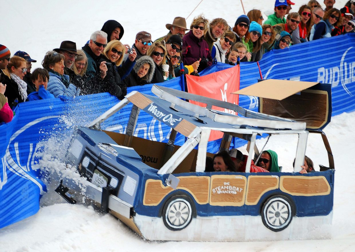 """Things go wrong for the """"Woody One"""" cardboard craft on Saturday during the Cardboard Classic at Steamboat Ski Area."""