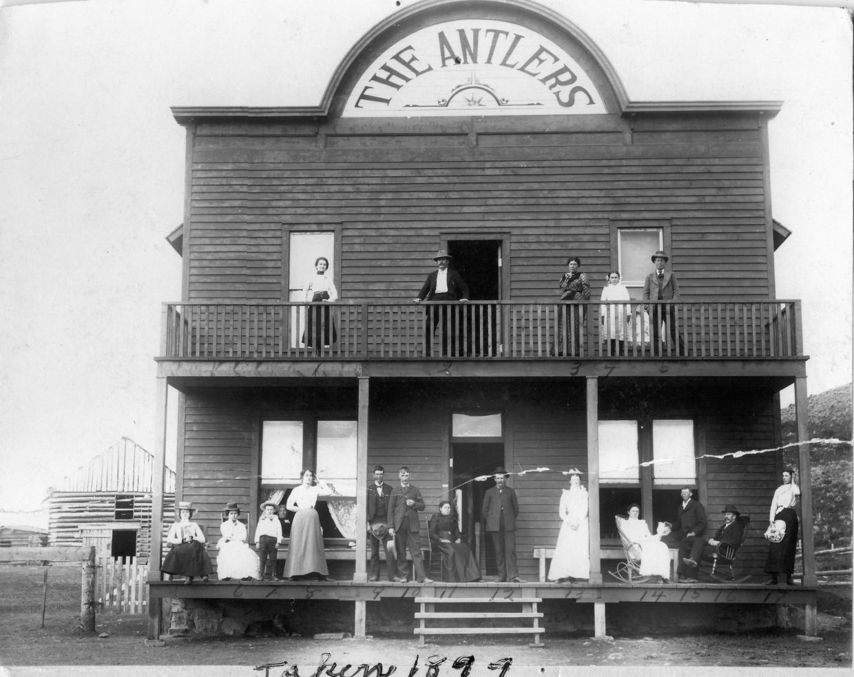 This photo, labeled as taken in 1899, shows the Antlers in its first stages, before wings were added to each side of the building on Moffat Avenue in Yampa. The current cafe and bar is the right wing of this original structure.