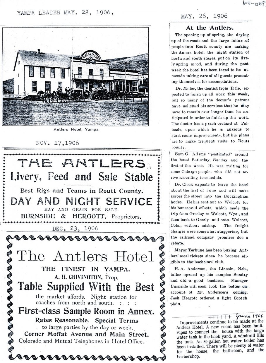 This page of the Yampa Leader from May 28, 1906, shows the Antlers when it was a thriving hotel.