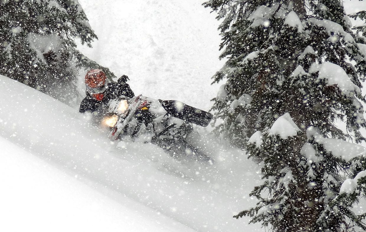 Jonny Buschmann cuts through the snow on Buffalo Pass on Monday. The longtime Steamboat veteran said it was far from a great season for filming. Rather than hit some of the areas he had in mind for great clips, he and his friends worked more in trees and areas they'd ignored in deeper snow years.