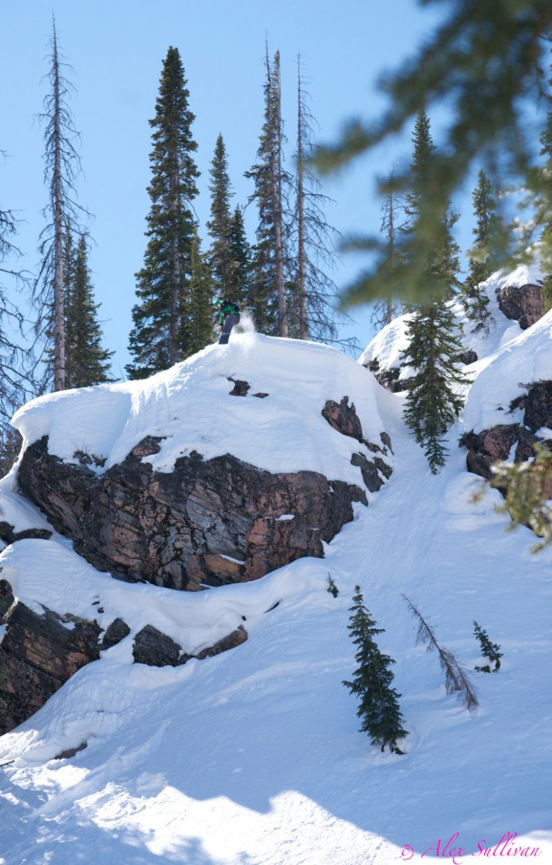 Chris Rhodes flies off a cliff on Buffalo Pass. Rhodes, who released his first adventure action movie last summer, said that he didn't come across many clip-worthy days this season but that there were some.
