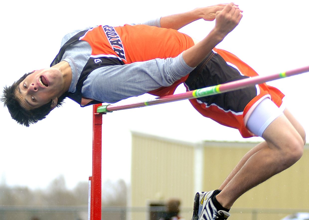 Hayden's Rene Valdez clears the bar during the high jump competition at Friday's Hayden Invitational track meet in Craig.