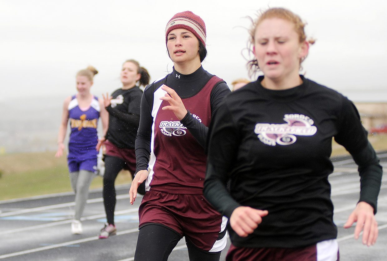 Micaela Meyer of Soroco, right, leads the way in the 200 dash as Rams filled the top five postions.